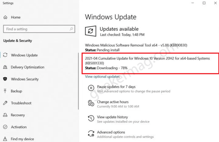 Windows 10 Update KB5003173 fails to install with Error 0x800f0922