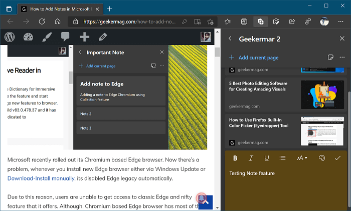 Add Note to Collection in Microsoft Edge