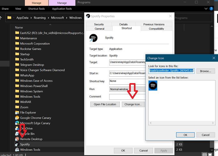 change Spotify desktop app icon in windows 10