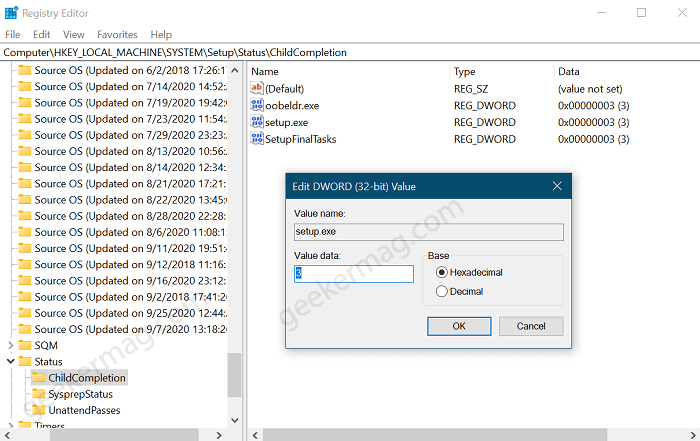 ChildCompletion registry key in windows 10