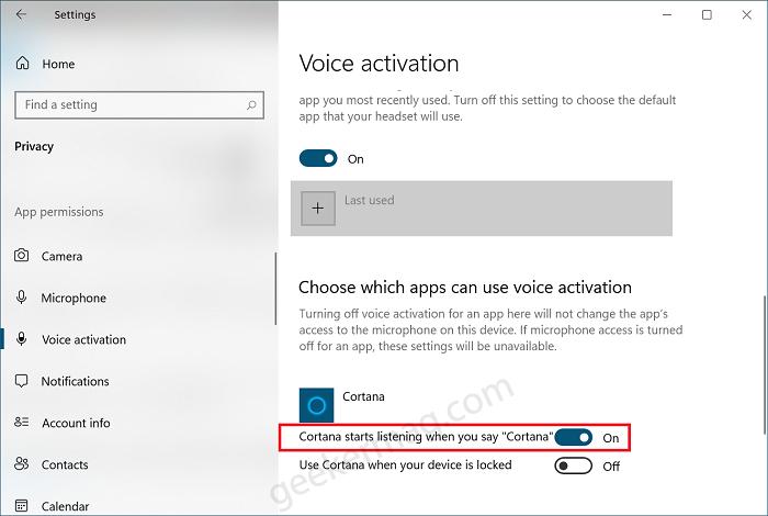 Cortana start listening when you say hey Cortana