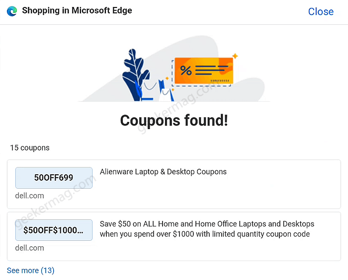 coupons in edge android