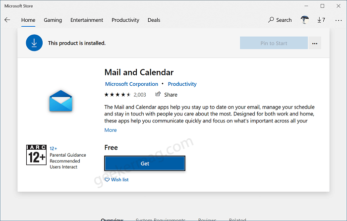Get Mail and Calendar app for Windows 10