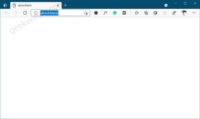 edge new tab page blank