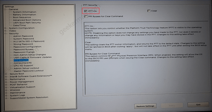 enable ptt security in dell bios