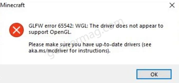 Fix - Minecraft GLFW Error 65542 (Driver Doesn't Support OpenGL)