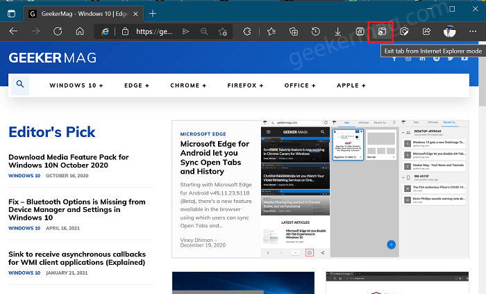 Exit tab from internet explorer mode button in edge toolbar