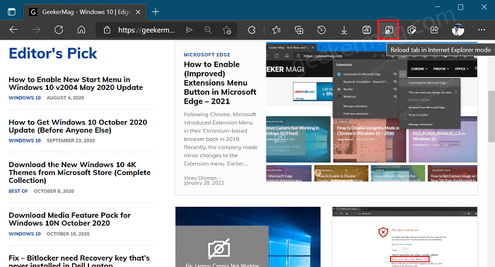 Reload Tab in internet explorer mode button in edge toolbar