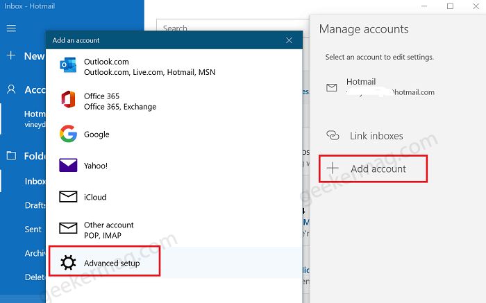 Advanced setup in windows 10 mail app