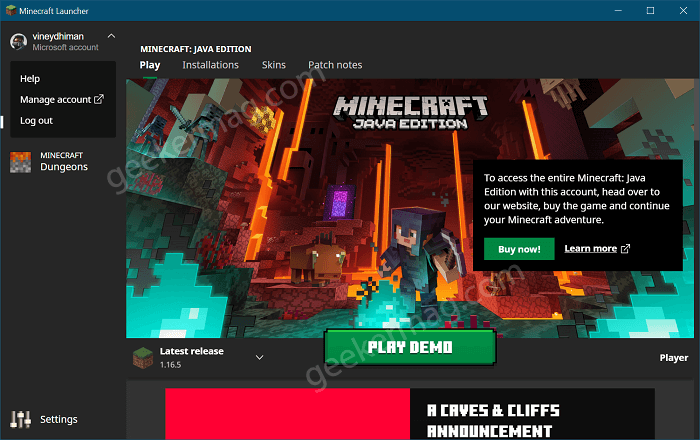 Play minecraft from launcher