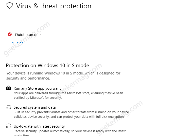 Fix - Quick Scan due in Windows 10 in S Mode (Windows Security)