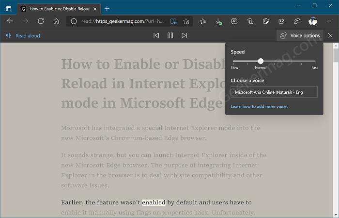 Use Read Aloud in Edge Immersive Reader