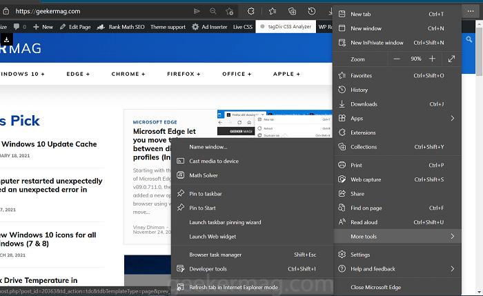 refresh in internet explorer mode in edge browser.