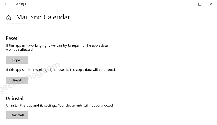 Reset Mail app in windows 10