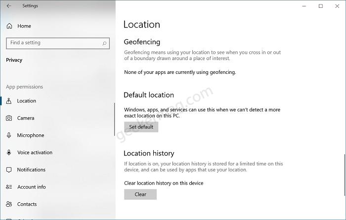 Set Default Location in Window 10