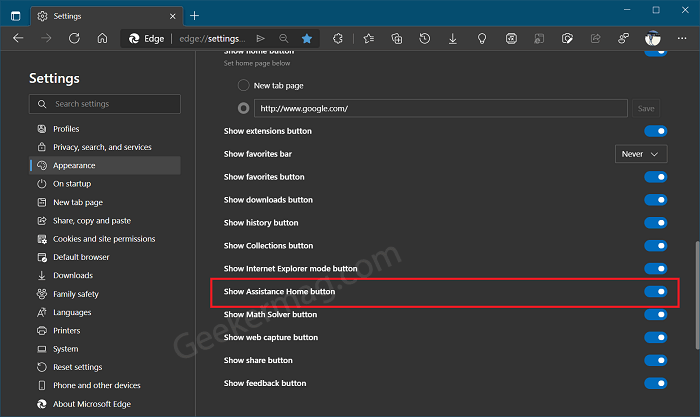 Show or Hide Assistance Home button in Edge toolbar