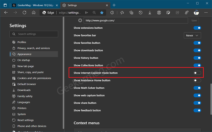Show internet explorer mode button to edge toolbar