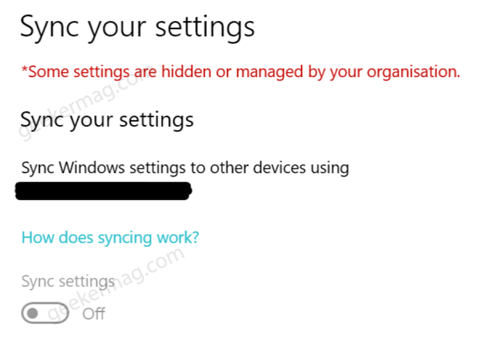 Some settings are hidden or managed by organization