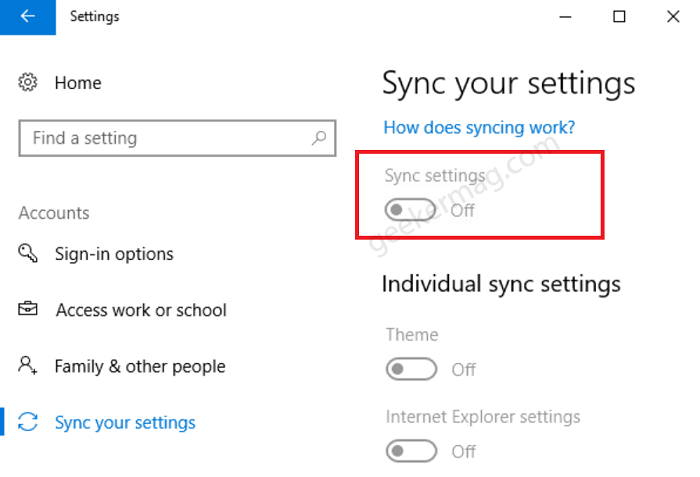 Fix - Sync Setting in Windows 10 is Greyed out or Not working