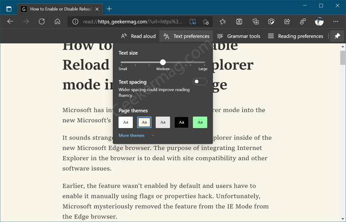 Use text preference in edge immersive reader