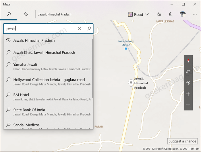 manually set location in maps in windows 10