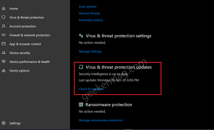 Virus and threat protection updated in windows 10 defender