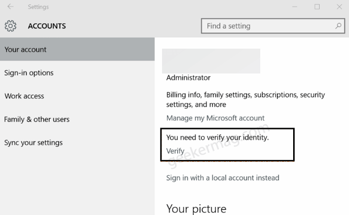 You need to verify your identity on this PC