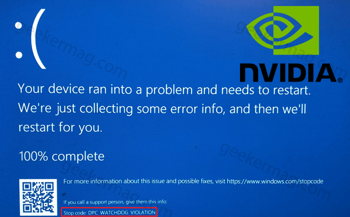 Fix: DPC Watchdog Violation in Windows 10 with Nvidia Graphic v466.63