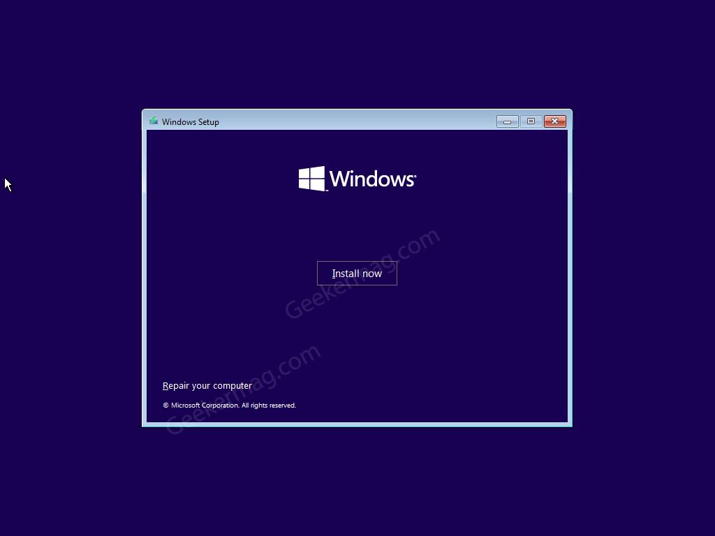 Install now button in Windows 10 installer
