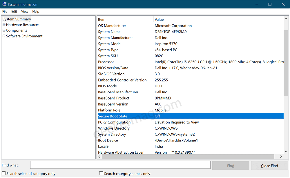 Secure Boot Status turn off in device
