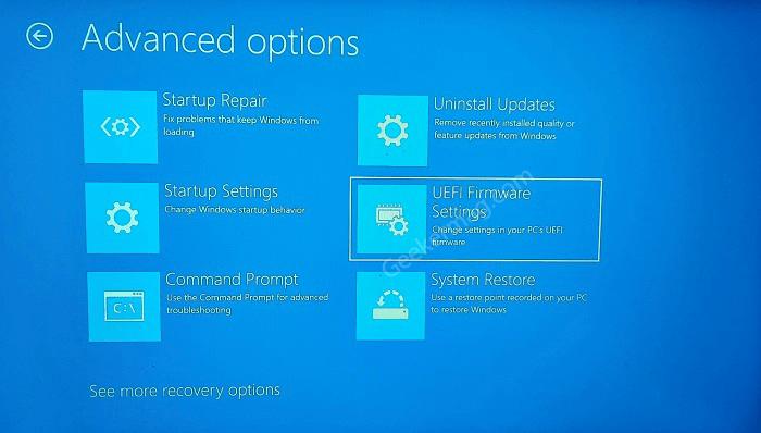 Advanced options in windows 10