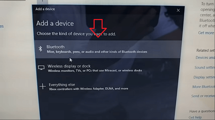 select bluetooth device in windows 10