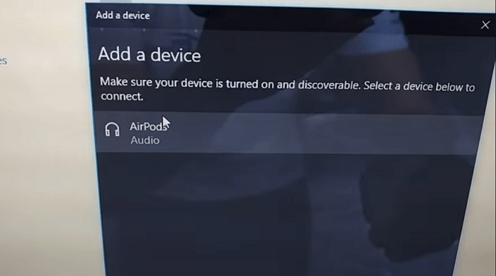 Airpods detected in windows 10 bluetooth settings