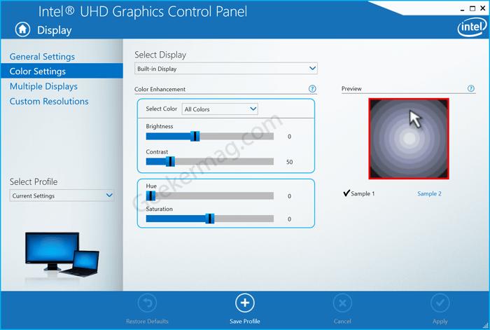 increase brightness using Intel control panel