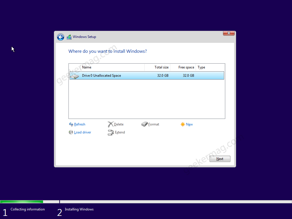 Select the drive where you want to install Windows 11