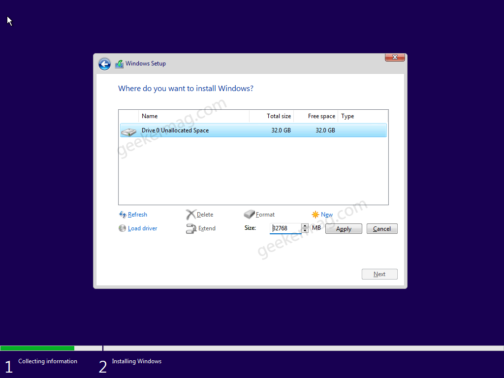 where do you want to install Windows 11