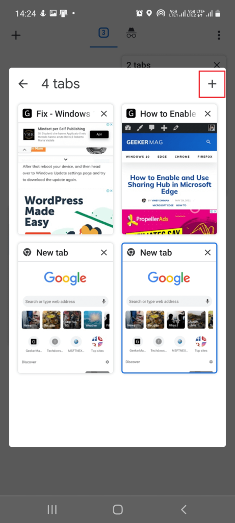 create new tab in tab group in chrome for android