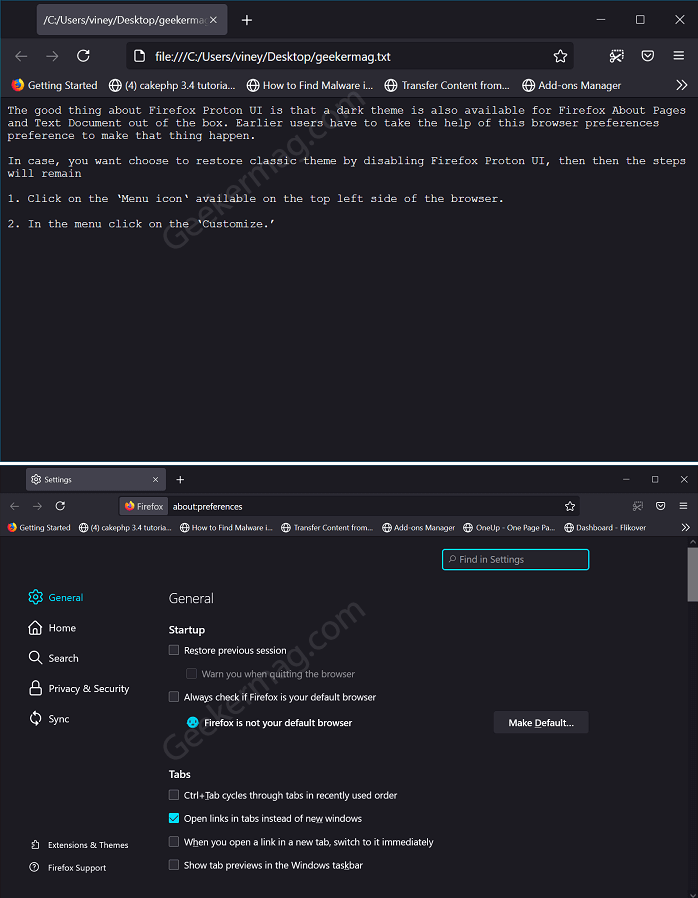 dark mode for text document and about page in firefox proton