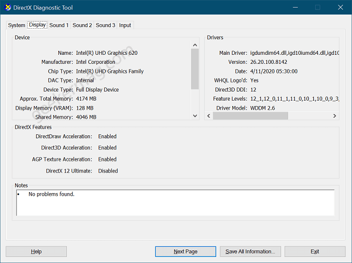 Find Graphics Card Using DirectX Diagnostic Tool
