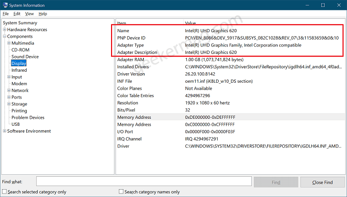Find Out The Graphics Card Using System Information