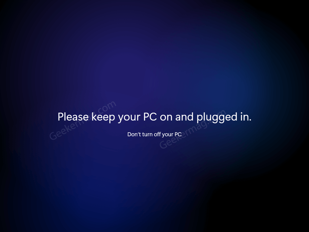 please keep your PC on and pluggedin