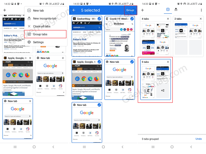 Merge tabs in chrome for android