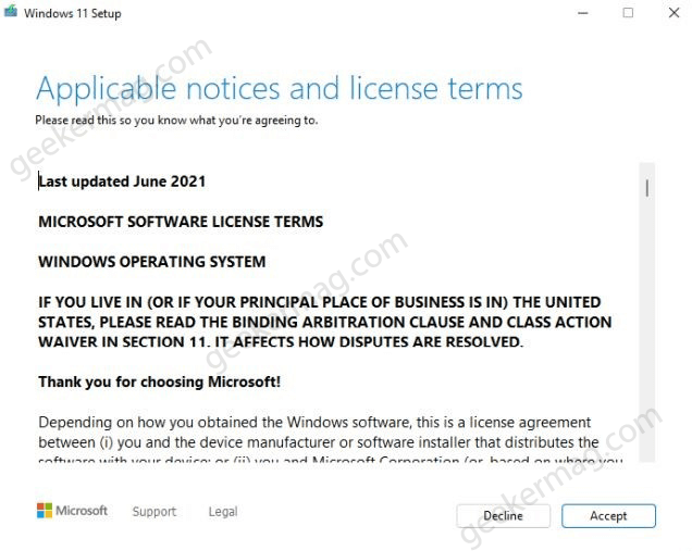 Applicable notices and license terms windows 11