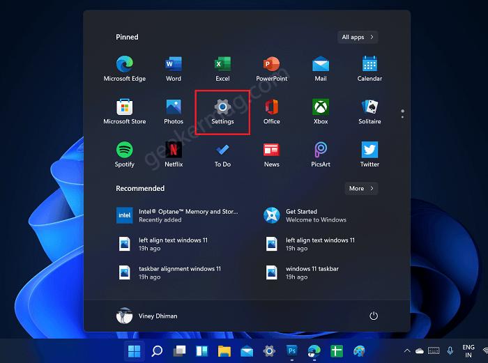 open settings app in windows 11
