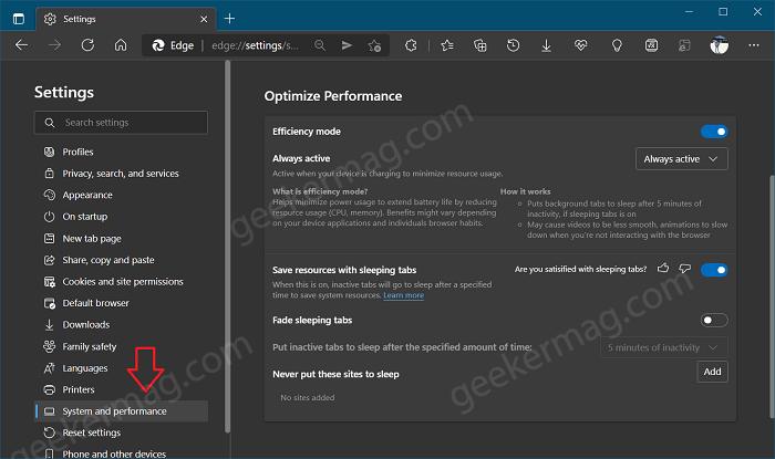 optimize performance edge