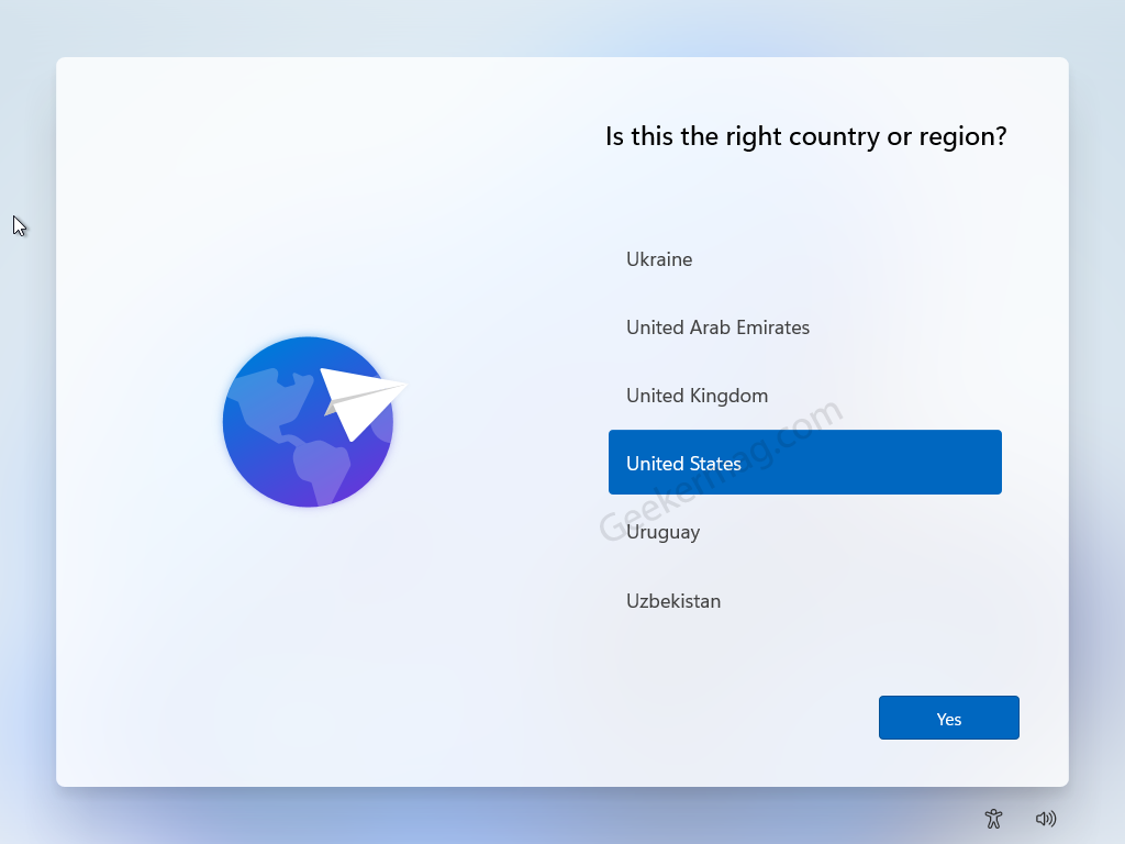 Is this the right country or region for Windows 11
