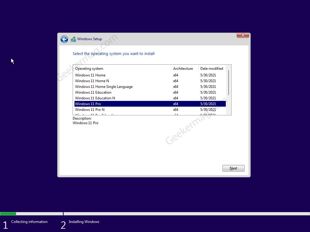 select edition of Windows 11