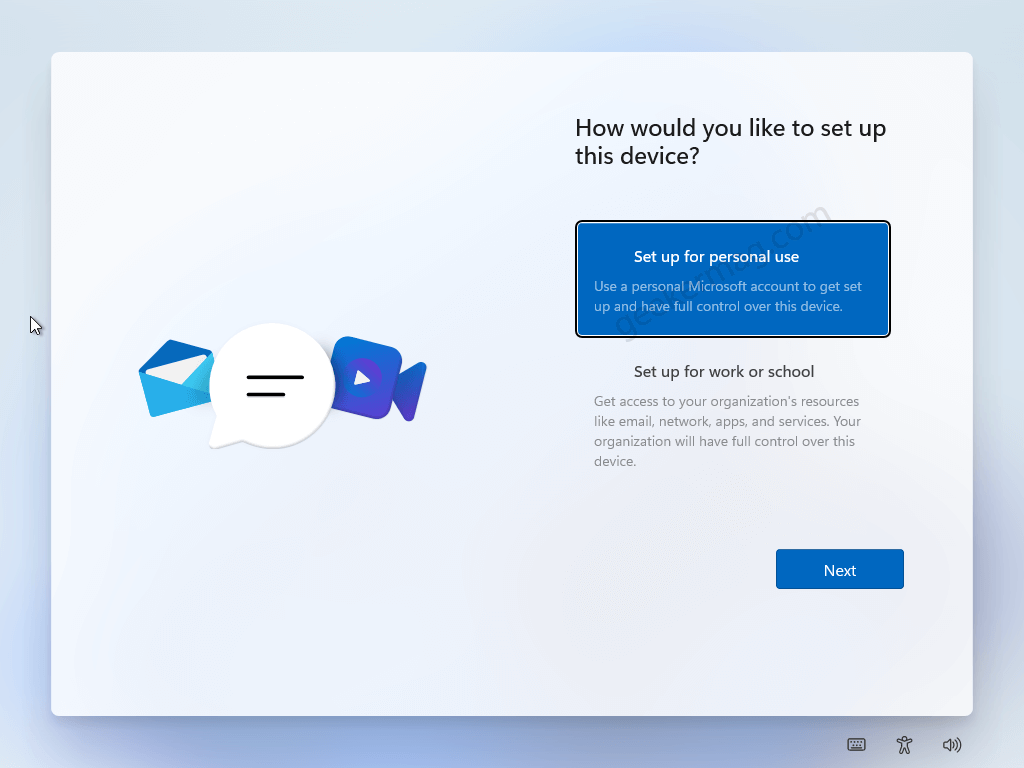 How would you like to set up this device windows 11