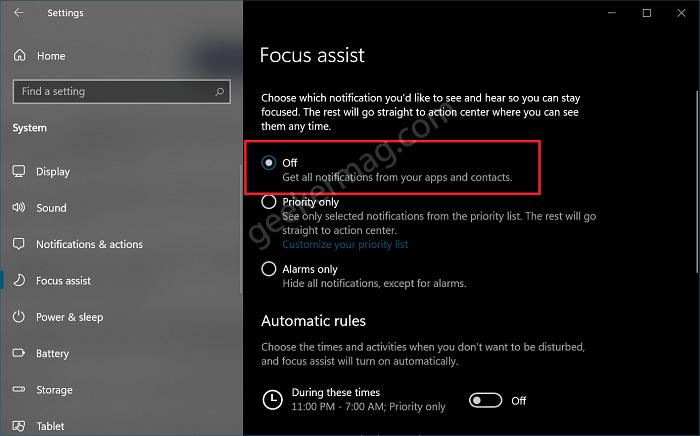 turn off focus assist