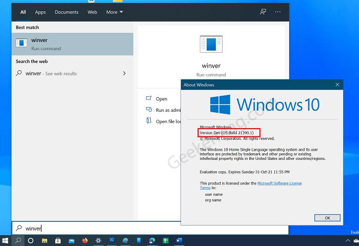 Check version of windows 10 using winver